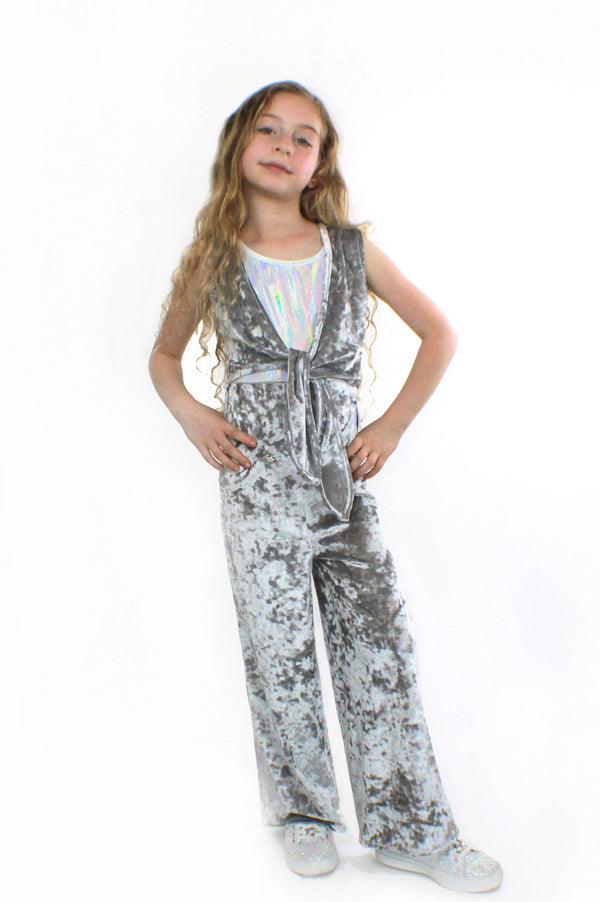 COCO – Silver Crushed Velvet Jumpsuit-[stardust]