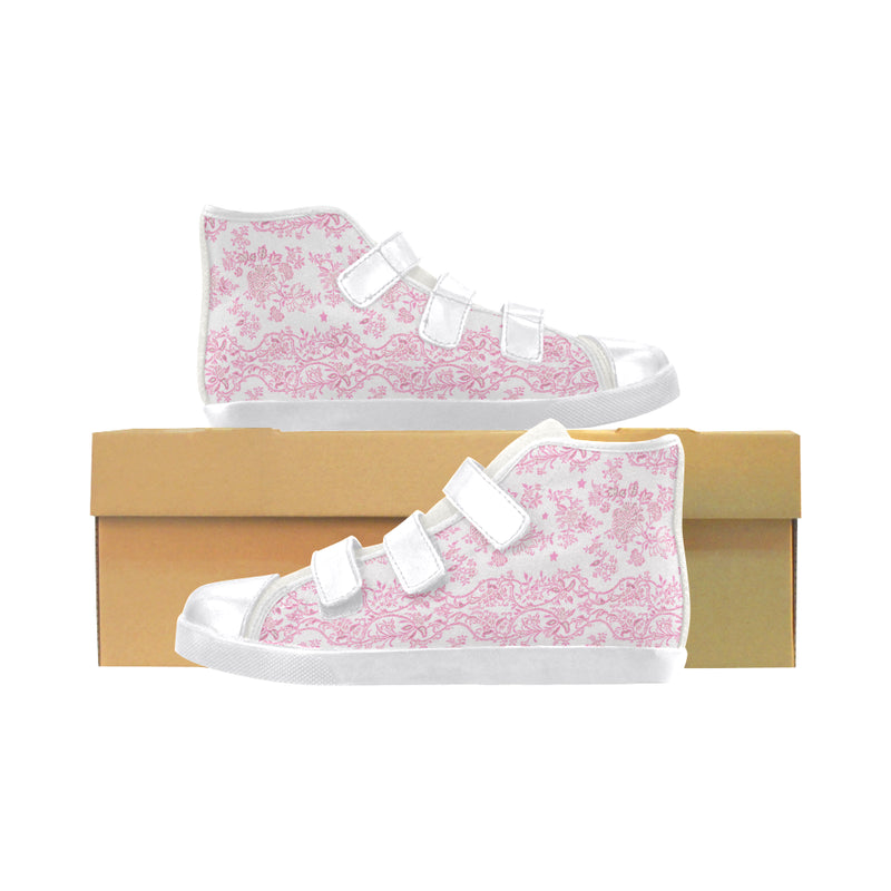 Pink Lace N stars velcro high top shoes