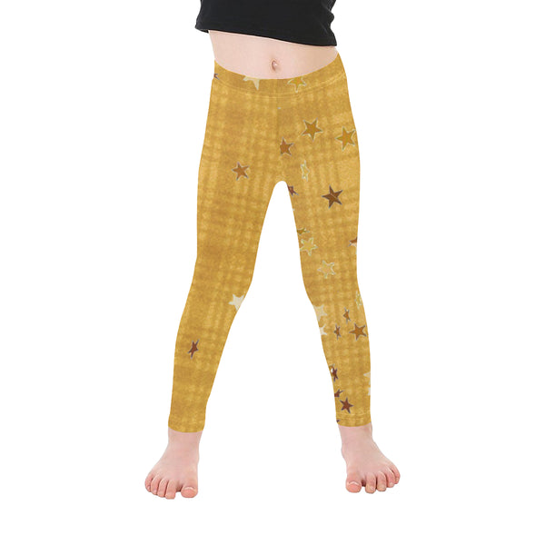Yellow plaids N stars pattern Microfiber Leggings small