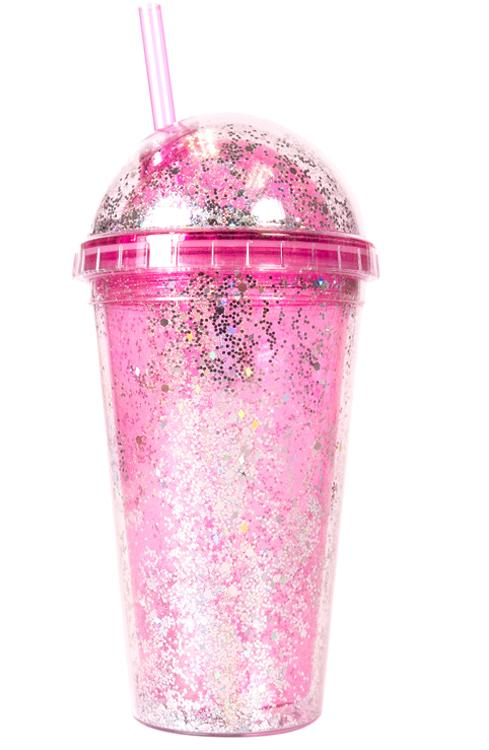 Double Lid Glitter Tumbler - Pink