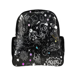 Ultra Galactic , Vegan Leather Multi-pocket Backpack-[stardust]