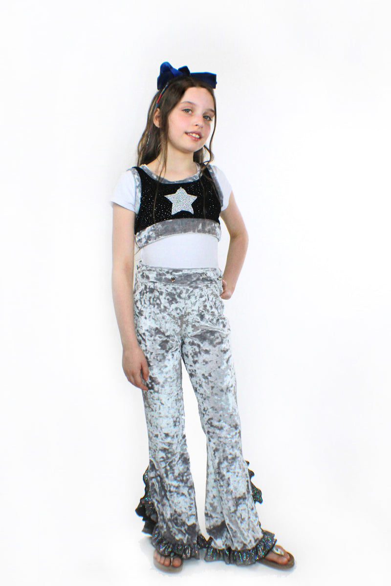 Eve , Silver Crushed Velvet and glitter Flared Pants-[stardust]