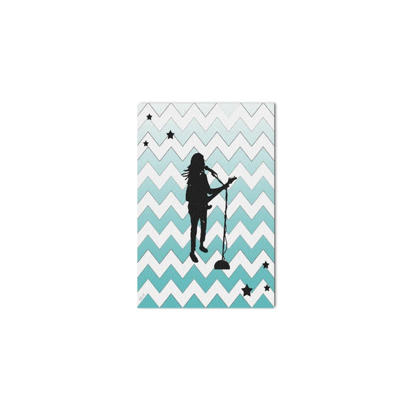 "MUSICIAN ,Framed Canvas Print 12"" x 8"" in Sea Foam or Multi Color-[stardust]"