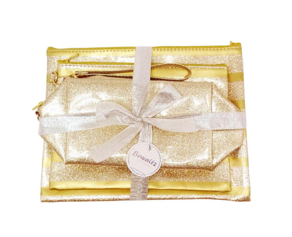 Glitter Makeup Bag Set - Gold