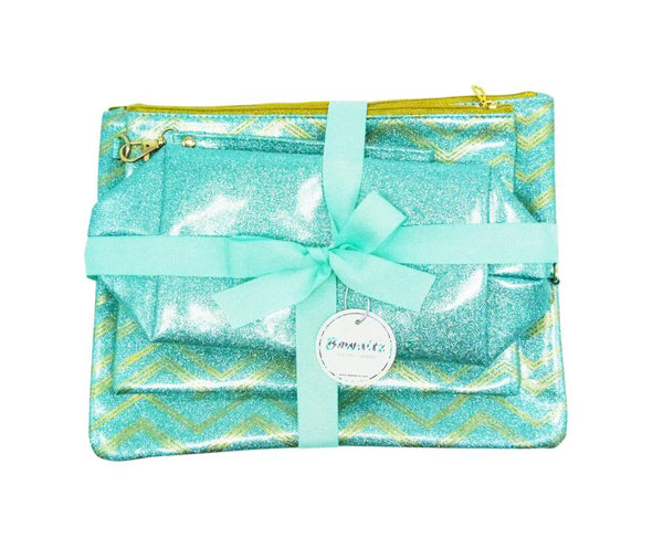 Glitter Makeup Bag Set - Green