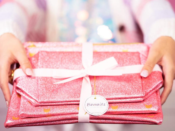 Glitter Makeup Bag Set - Pink