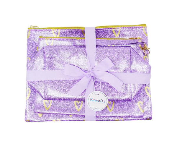 Glitter Makeup Bag Set - Purple