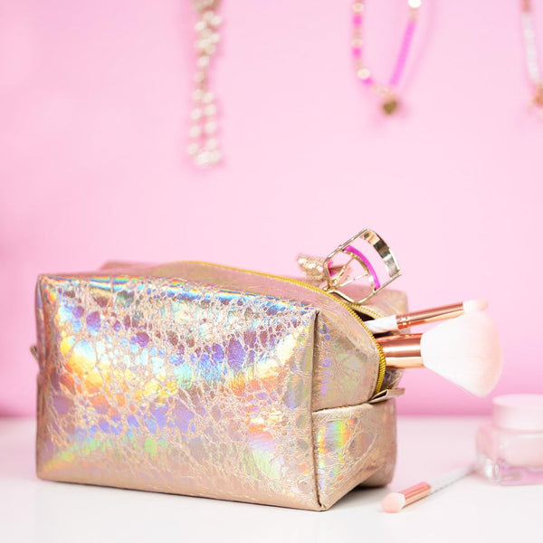 Holographic Makeup Bag Rose Gold