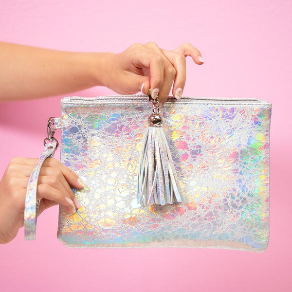 Holographic Makeup Pouch Small Silver
