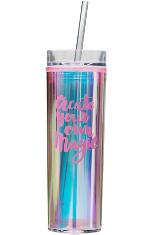 "Holographic Tumbler - Pink ""Create Your Own Magic"""