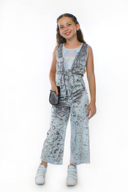 COCO With Pocketwist™  – Silver Crushed Velvet Jumpsuit-[stardust]