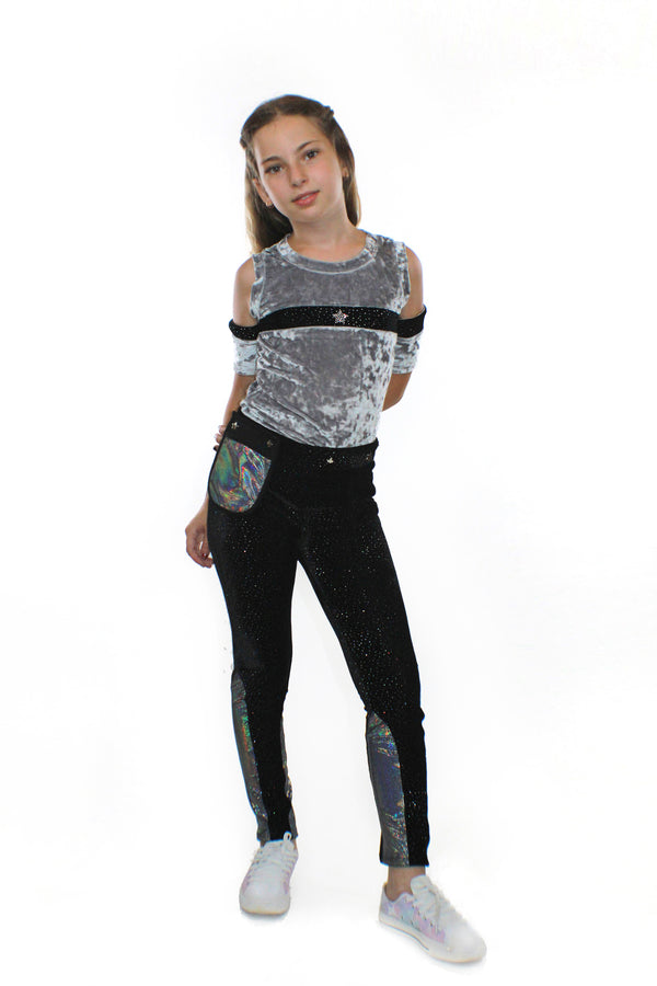 Ori Pants With Pocketwist™  , Glitter Velvet Stretch with sleek design and side sequins-[stardust]