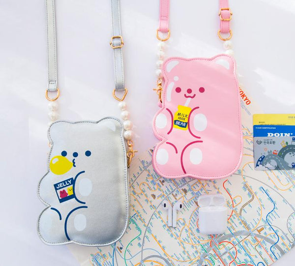 Pink Jelly Bean Bear Crossbody Bag