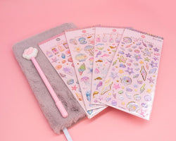Purple Furry Notebook, Cat Paw Pen and Sticker Set