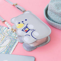 Silver Jelly Bean Bear Crossbody Bag
