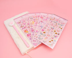 White Furry Notebook, Cat Paw Pen and Sticker Set
