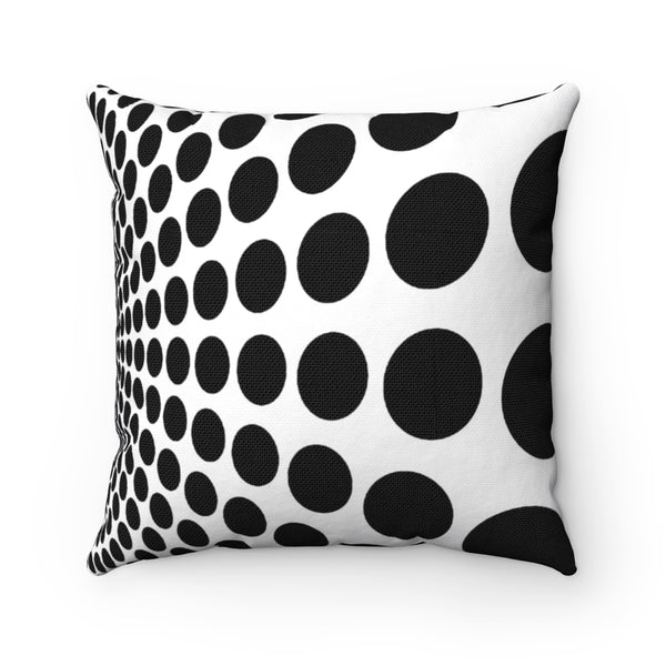 Black Dots, Spun Polyester Square Pillow-[stardust]