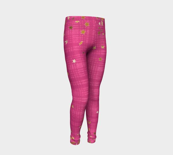 Pink  Plaids N Stars, Eco friendly Leggings