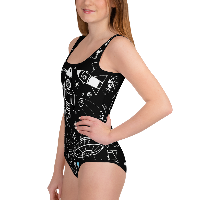 Ultra Galactic Black, All-Over Print Youth Swimsuit-[stardust]