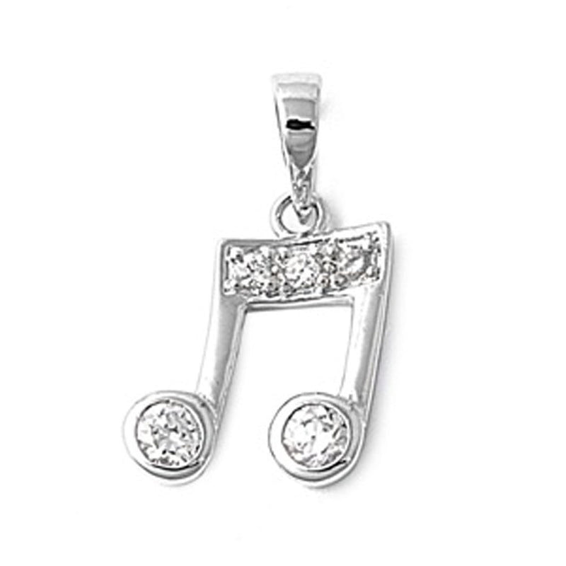 Silver Music Note Charm Pendant-[stardust]