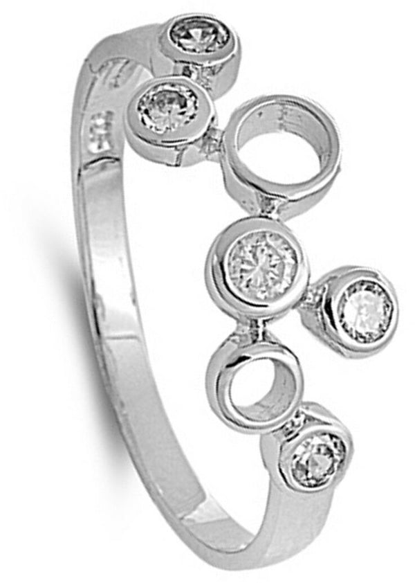 Silver and CZ Circles Ring-[stardust]