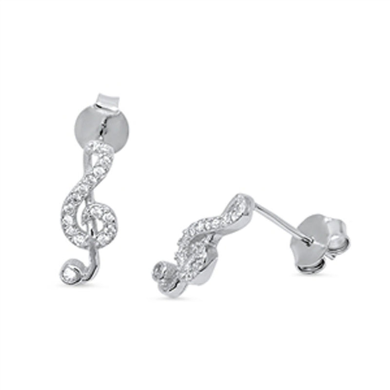 High Musical Note Silver with Crystals Earrings-[stardust]