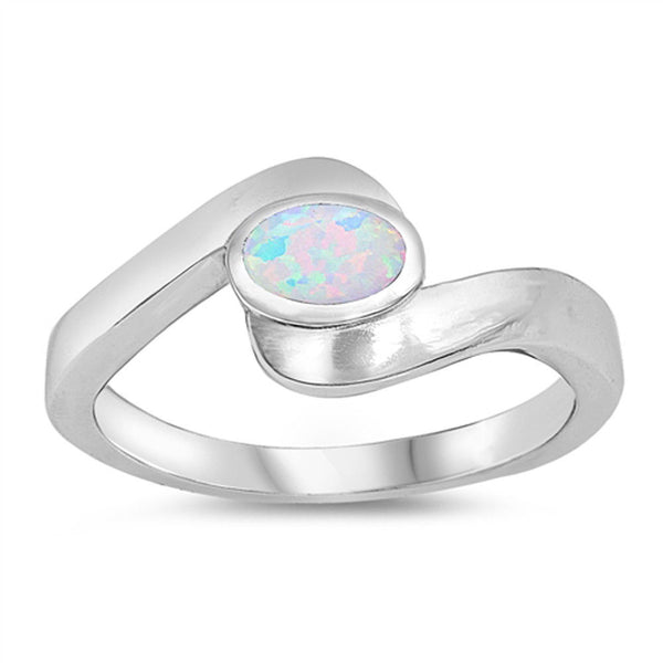 Silver Wave Ring with Sky Blue Lab Opal-[stardust]