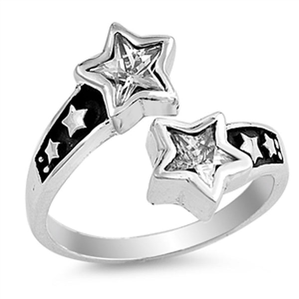 Stardust , Shooting Star Silver and Crystals Ring-[stardust]