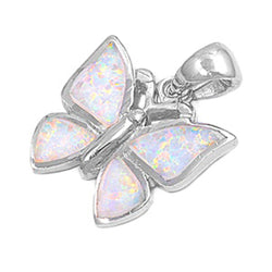 Opal and Sterling Silver Butterfly Pendant-[stardust]