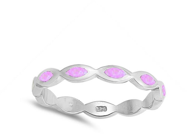 Pink Marquise Waves Sterling Silver Ring-[stardust]