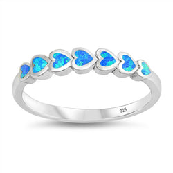 Pure Heart ,Sterling Silver and Blue Opal Ring-[stardust]