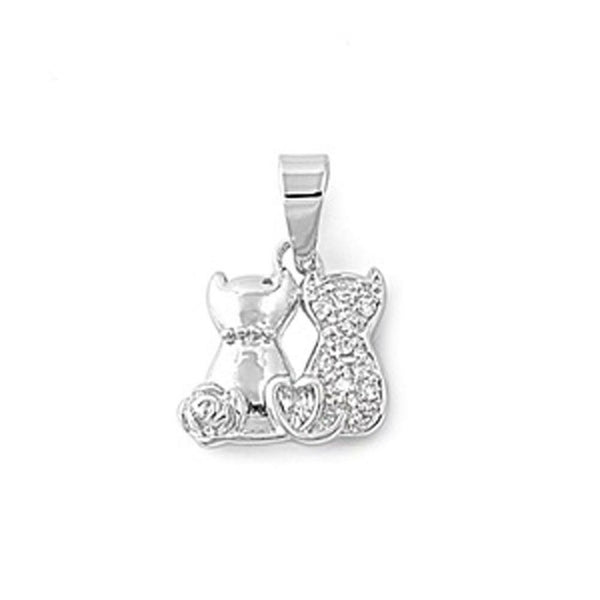 Cats Power Love Silver with Crystals Pendant-[stardust]