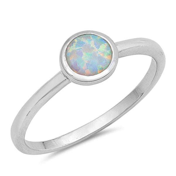 Round Of Opal White,Sterling Silver Ring-[stardust]