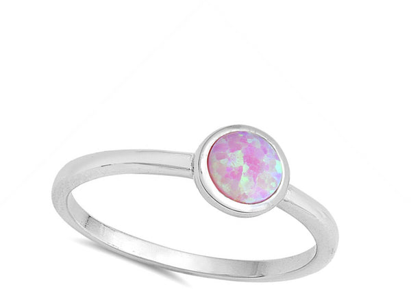 Round Pink Opal,  Silver Ring-[stardust]