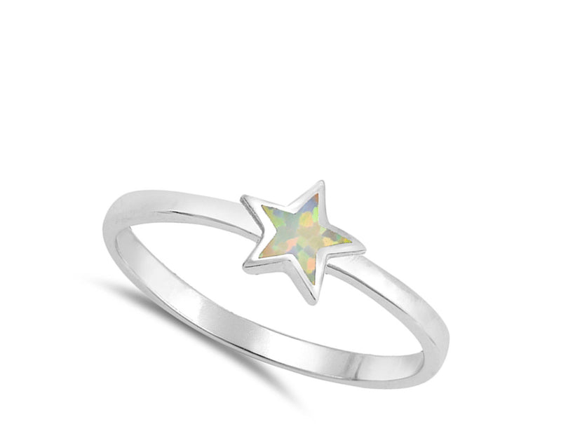 Whit e Star Of Opal and Silver Ring-[stardust]