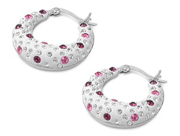 Bagel With Everything ,Loop Sterling Silver and Crystals Earrings-[stardust]