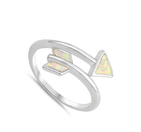 Twisted Silver Opal Arrow Ring-[stardust]