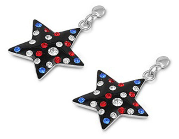 All American ,Red White And Blue Garnet, Silver Earrings-[stardust]