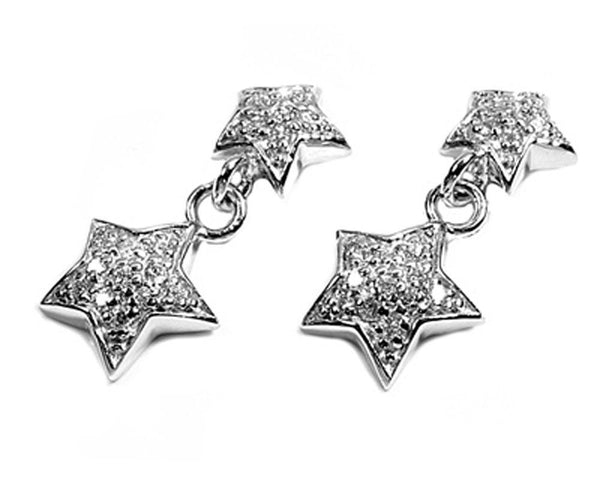 Star Shine Silver Earrings with Crystals-[stardust]