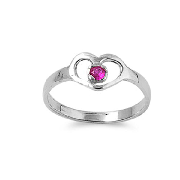 Ruby Heart Silver Ring-[stardust]
