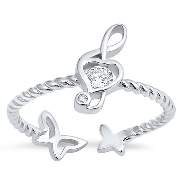 Heart of a Butterfly ,Musical Key Silver Ring-[stardust]