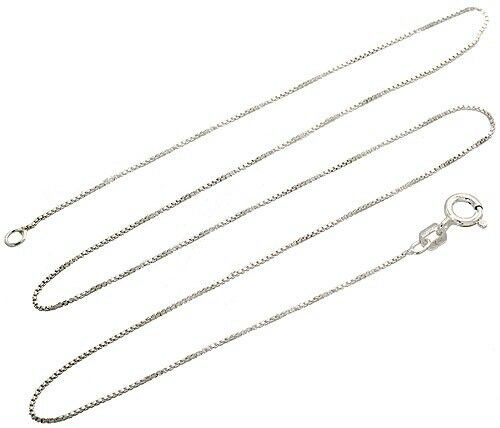 Sterling Silver .8mm Solid Box Chain Necklace-[stardust]