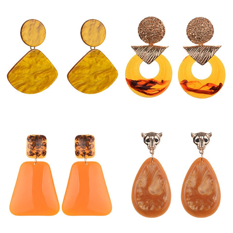 Coral Resin Statement Earrings-Accessories-The Poetic Soul