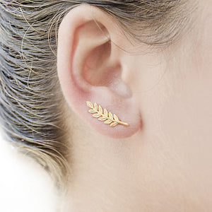 Ear Climber - Leaf - Earrings (Silver or Gold)-Accessories-Gold Plated- Boho Chic - Free Spirit -The Poetic Soul