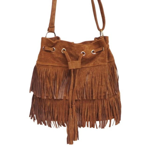 Faux Fringe Tassel Shoulder Crossbody Messenger Bag Boho Style-Purse-The Poetic Soul-Coffee-The Poetic Soul