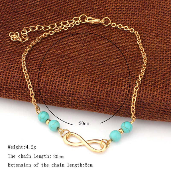 Infinity Anklet - Turquoise Beads - Gold Chain-Accessories-The Poetic Soul