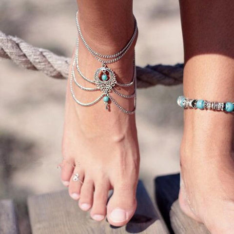 Vintage Bohemian Hollow Out Tassels Multilayer Turquoise Anklet-Accessories- Boho Chic - Free Spirit -The Poetic Soul