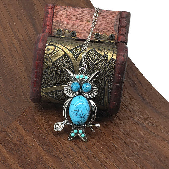 Owl Pendant Long Necklace Sweater Chain-Accessories- Boho Chic - Free Spirit -The Poetic Soul