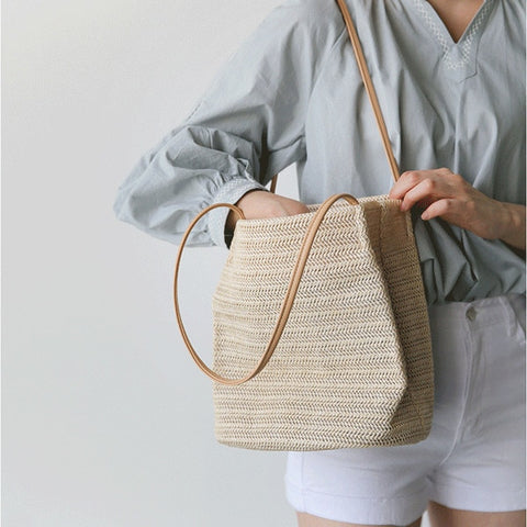 """Lexie Love"" Durable Weave Bag (2 Colors)-Purse-Beige- Boho Chic - Free Spirit -The Poetic Soul"
