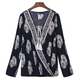 LUCY- Boho Women Tops Floral Print Blouse Tee Casual V Neck Long Sleeve Loose Lantern with Tassel-Shirts-Navy Blue-S- Boho Chic - Free Spirit -The Poetic Soul
